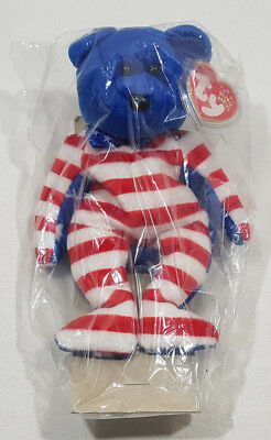 "2001 TY Beanie Babies USA LIBERTY"" Teddy Bear Blue Head Tags MINT"