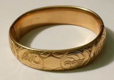 Vintage Antique Fmco Finberg Wide Gold Filled Bangle Bracelet Flowers 40 Grams!!