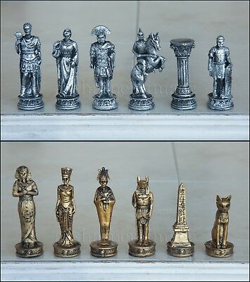 "Roman vs Egyptian Chess Set Glass Board Metallic Gold Silver NEW 3"" Kings"