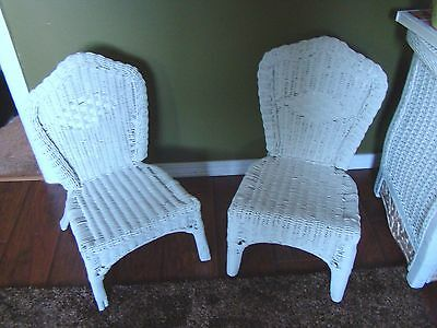 Pair Set of 2 Vintage Children's White Wicker Chairs Rattan 22""