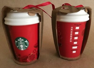 NWT Starbucks Red Cup 2013 Holly Berries Ceramic Holiday Christmas Tree Ornament