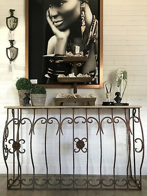 French Style Wrought Iron Marble Top Vintage Console Table Indoor or Out