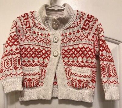 Girl's Carter's Red & White Cotton Blend Fair Isle Style Cardigan Sweater Sz 2T