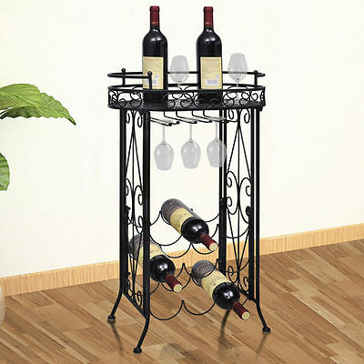 9 Bottle Iron Wine Rack with Table & Hooks in Black