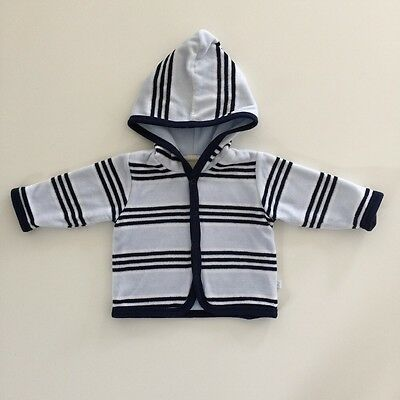 MARQUISE Baby Boys Blue & White Stripe Hoodie Lined Jacket Size 00 3-6 mths EUC