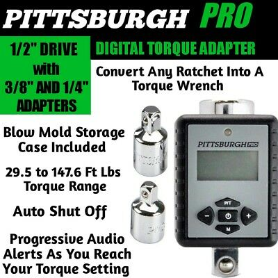 """Pittsburgh Pro Digital Torque Wrench Adapter 1/2"""" Drive W/ 1/4"""" & 3/8"""" Adapters"""