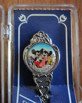 Disneyland Mickey & Minnie Mouse Silverplated Spoon With Case Australian Made