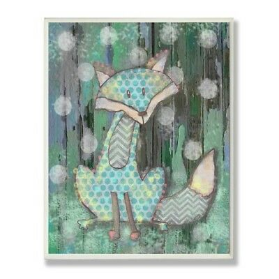 The Kids Room by Stupell Distressed Woodland Fox Rectangle Wall Plaque, 11 x 0.5