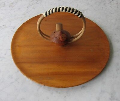 Mid Century Vintage Retro 1950s Wooden Round Serving Tray
