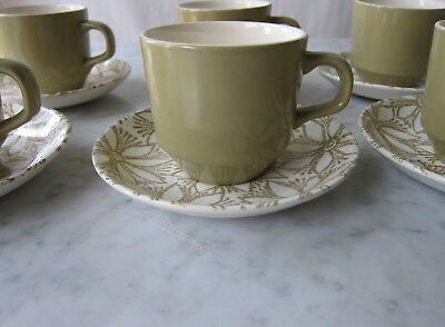 Vintage Mid Century set of 6 Cups & Daisy Design Saucers Crown Lynn New Zealand