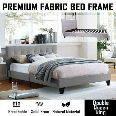 Premium Fabric Bed Frame Grey Wooden Double Queen Size New Design Bed Base AU