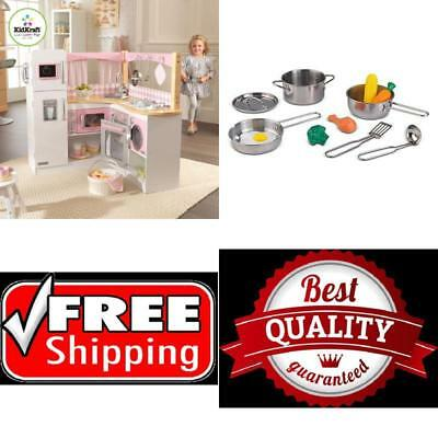 Captivating Deluxe Cookware Set,11 Pieces Kids PLAY Toys Accessories For Kitchen Gift  NEW