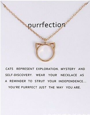 New Gold Silver Cat 'purrfection' Packaged With Card Necklace Gift  Uk Seller
