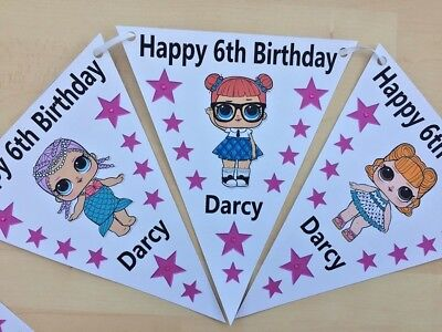 Handmade Personalised Lol Doll bunting / party decoration / birthday