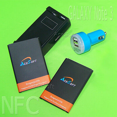 2x NFC 4970mA Battery Car Wall Charger f Samsung GALAXY Note 3 N900A N9000 Phone