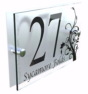 Decorative House Signs Plaques Door Numbers 1 - 999 Personalised Name DEC-13B-S