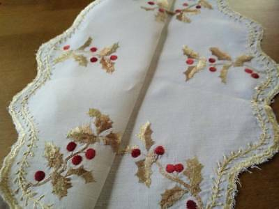 """Antique Society Silk~Christmas Holly & Berries~Hand Embroidered Centrepiece 16""""D"""