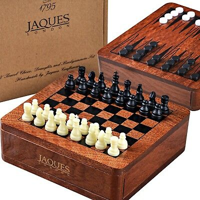 3 in 1 Chess Set with Backgammon Set and Draughts Set 12cm - Jaques of London