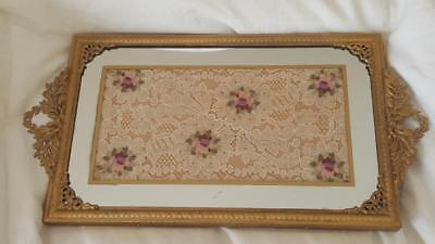 Antique Vanity Tray w/ lace & Mirror insert Gold Ormolu French Style - ANTIQUE VANITY TRAY W/ Lace & Mirror Insert Gold Ormolu French Style