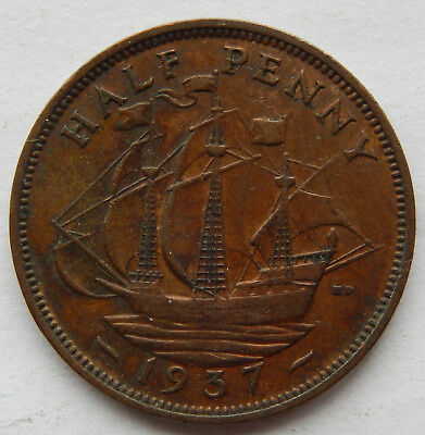 1937 UK / Great Britain Half Penny Coin SB5074