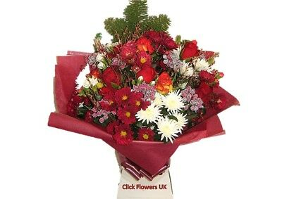 FRESH REAL FLOWERS Delivered Christmas Traditional Bouquet