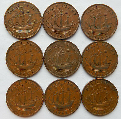 "1944 UK / Great Britain Half Penny Coin ""Lot of 9 Coins""  SB5080"