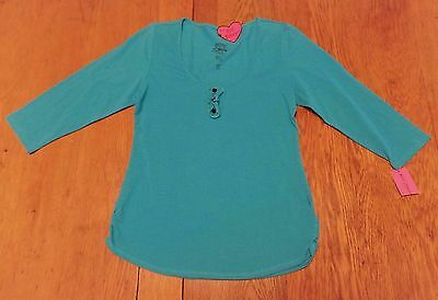 #2368-6 Betsey Johnson Intimates NWT 3/4 Sleeve Turquoise PJ Top  W-S