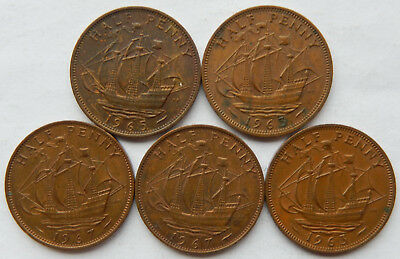 "1963, 1965 & 1967 UK / Great Britain Half Penny Coin ""Lot of 5 Coins""  SB5085"