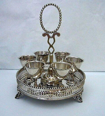 Antique Victorian Silver Plated 6 Egg Cups On Stand