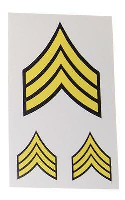 Military ARMY SERGEANT STRIPES Vinyl Decal Sticker Set Of 3