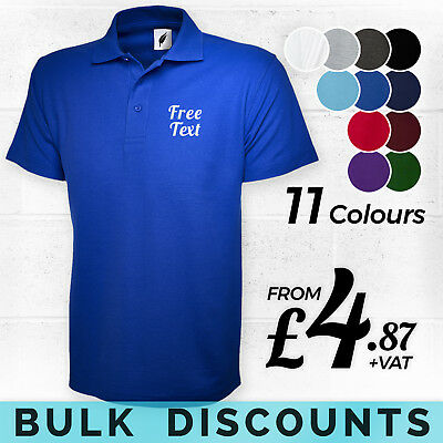 CUSTOM EMBROIDERED POLO SHIRT - Personalised Free Text Printed T-Shirts BULK BUY