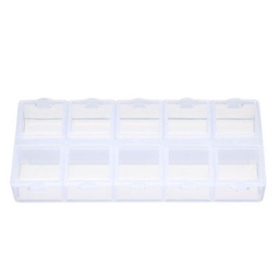 Double Sides 10 Slots Compartment Plastic Storage Box Clear Tool Case