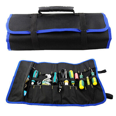 Hardware Tool Plier Screwdriver Spanner Carry Case Pouch Roll Bag 19 Pockets