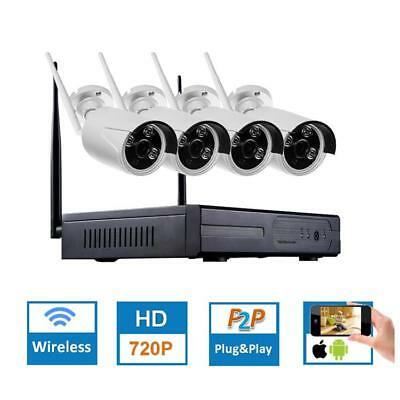 Hiseeu 4CH CCTV System Wireless 960P NVR WIFI IP Bullet Camera Home Security Sys