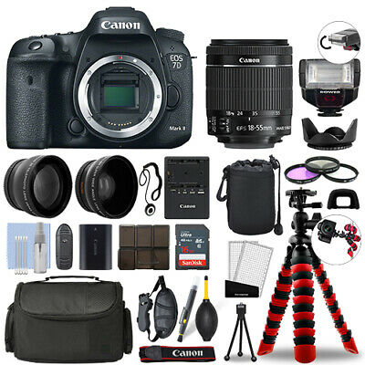 Canon 7D Mark II SLR Camera with 18-55mm STM+ 16GB 3 Lens Ultimate Accessory Kit