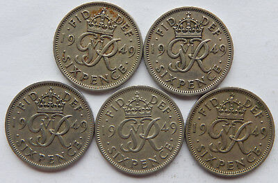 """1949 UK / Great Britain Six Pence Coin KM#875 """"Lot of 5 Coins"""" SB5088"""