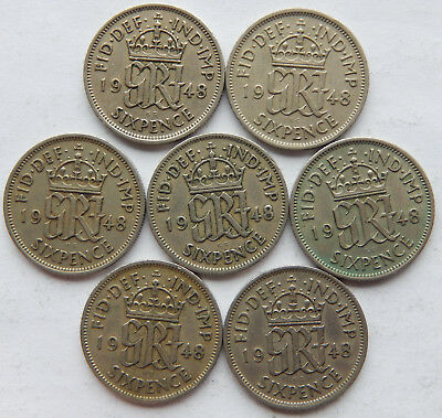 """1948 UK / Great Britain Six Pence Coin KM#862 """"Lot of 7 Coins""""  SB5090"""