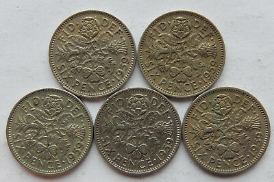"""1959 UK / Great Britain Six Pence Coin KM#903  """"Lot of 5 Coins""""  SB5091"""