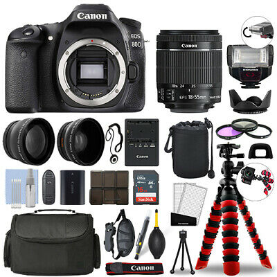 Canon EOS 80D DSLR Camera with 18-55mm STM + 16GB 3 Lens Ultimate Accessory Kit