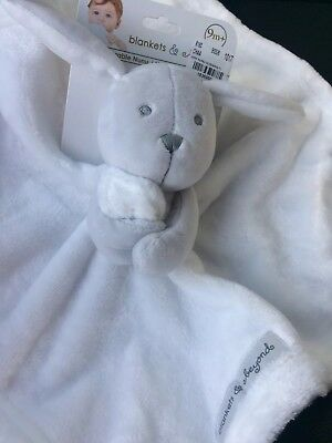 Nwt Blankets & Beyond Gray grey And White Bunny Nunu Lovey Security Blanket