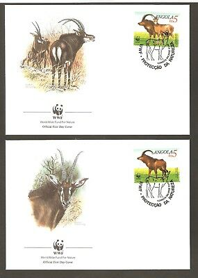 1990   ANGOLA  -  4 x WWF FIRST DAY COVERS  -  ANIMALS