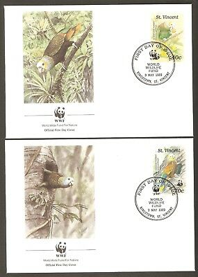 1989  ST. VINCENT  -  4 x WWF FIRST DAY COVERS  -  AMPRON PARROT