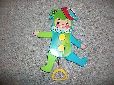 Vintage 1969 Jolly Jumping Jack Pull String Crib Toy WORKS Fisher Price Jester