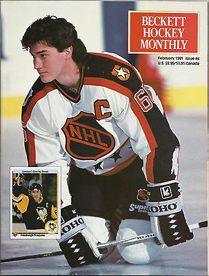 Beckett Hockey Monthly #4 (Feb. 1991) VF Mario Lemieux, Joe Sakic