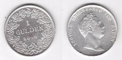 Baden Germany - Rare 1 Gulden Silver Coin 1840 Year Km#207 Leopold