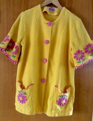 Vintage 1960s 1970s Beach Coverup Swim Robe Terrycloth Yellow With Floral Medium
