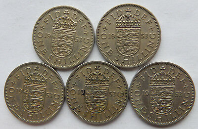 """1953 UK / Great Britain One Shilling Coin """"English Crest"""" KM#890 5 Coins SB5110"""