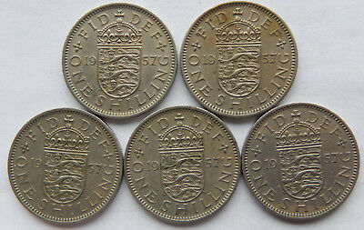 """1957 UK / Great Britain One Shilling Coin """"English Crest"""" Lot of 5 Coins  SB5112"""