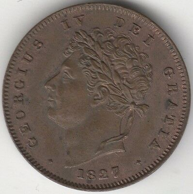 1827 George IV 1/3 Farthing Doubled Obverse***Collectors***UNC***
