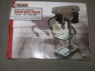 """Central Machinery 5 Speed Bench Drill Press #60238 - NEW - 8"""" with worklight"""
